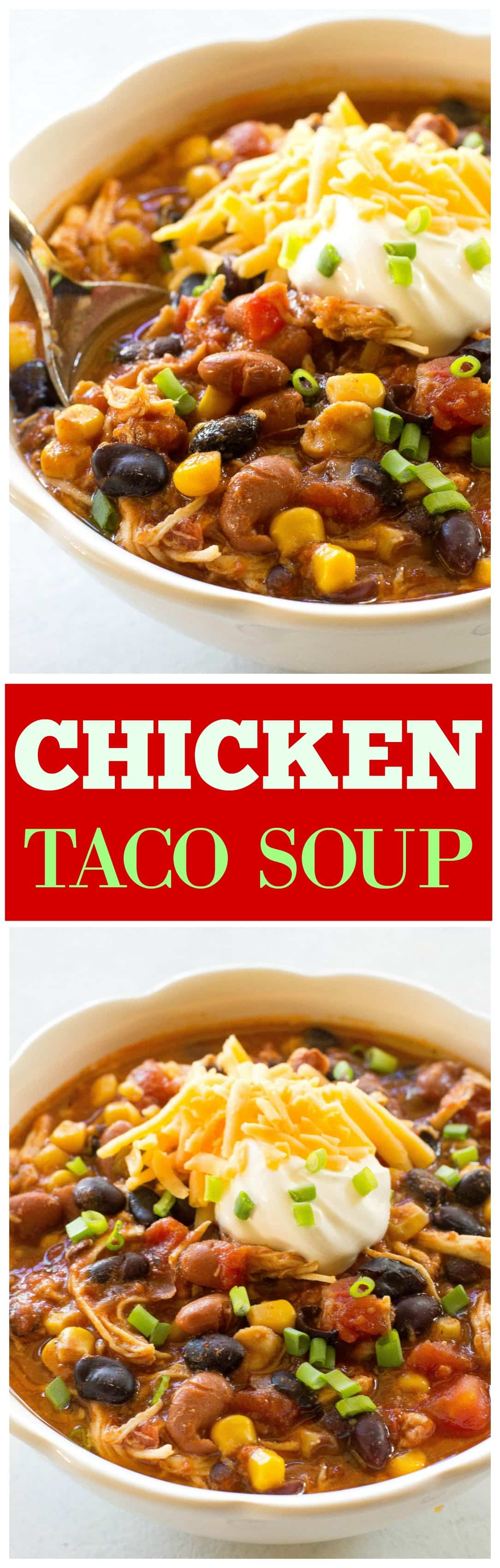 Easy Chicken Taco Soup - spicy and warm for a cold night! One of our favorite crockpot meals that can be made in the slow cooker or on the stove top. Some people call this 7 can chicken taco soup. #chicken #taco #soup #slowcooker #crockpot #dinner #recipe
