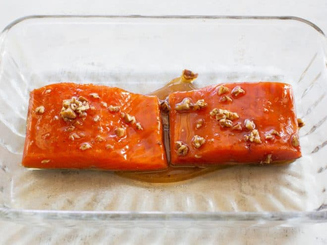 salmon with pecans on top