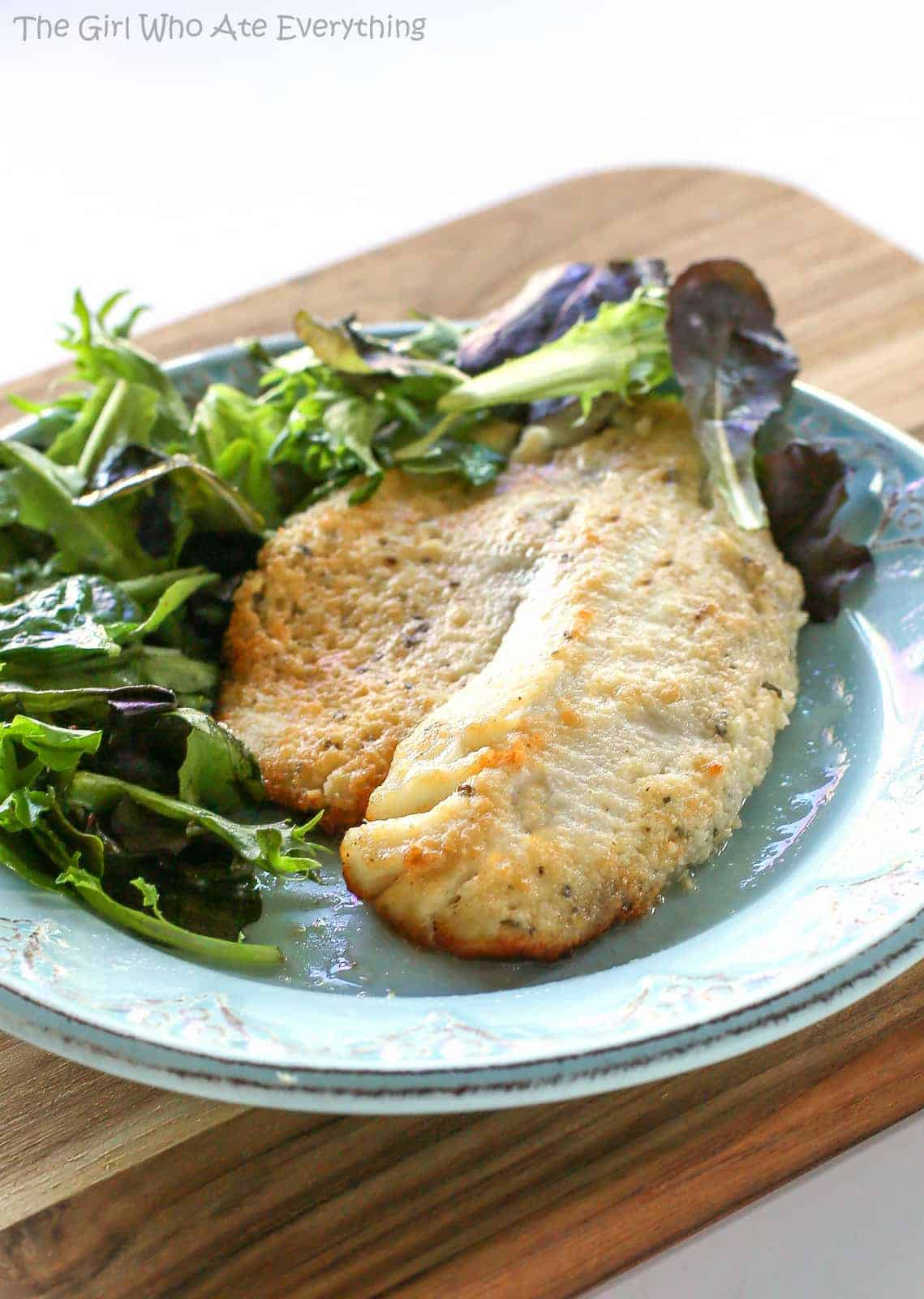Parmesan Tilapia - a fish recipe that tastes like Doritos and it's healthy. the-girl-who-ate-everything.com