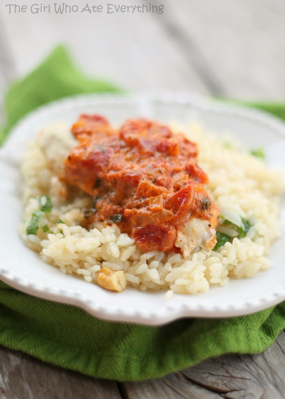 Tomato Basil Chicken and Cashew Rice Pilaf