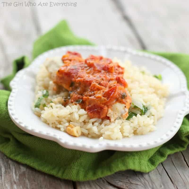 Tomato-Basil Chicken and Cashew Rice Pilaf