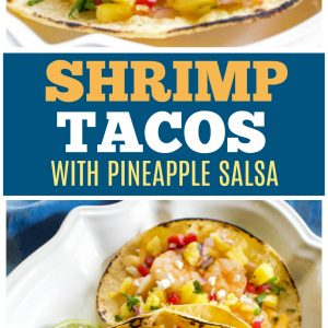 shrimp tacos with pineapple salsa on a platter