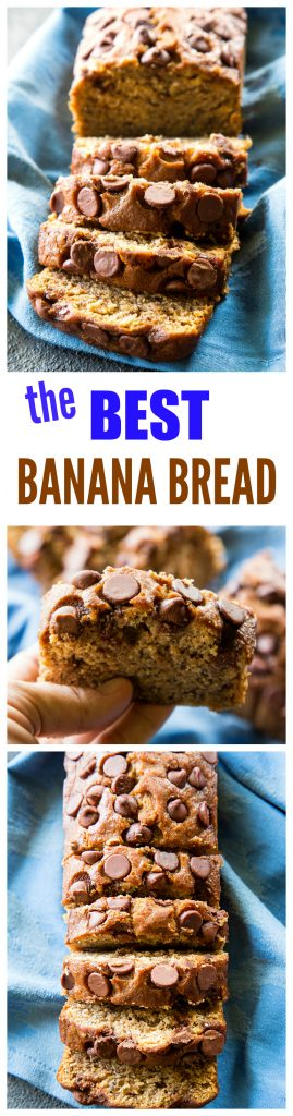 The Best Banana Bread is moist and full of flavor. This is a tried and true family recipe topped with chocolate chips. #banana #bread #recipe #triedandtrue