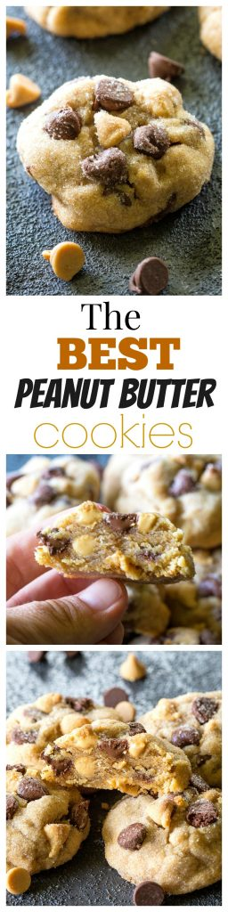 The Best Peanut Butter Cookies - studded with chocolate chips and peanut butter chips. #peanut #butter #cookies #dessert #recipe