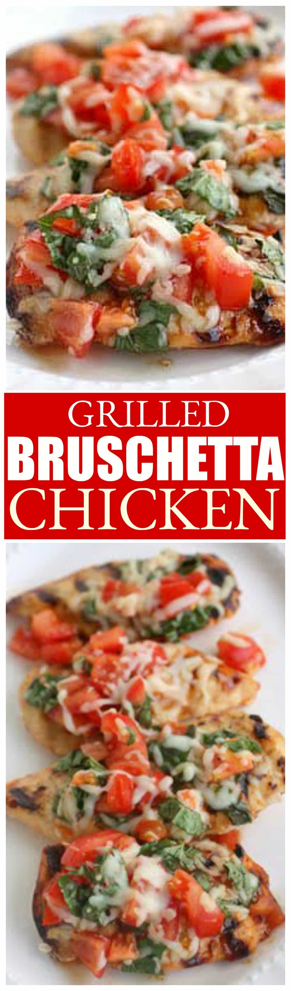 This Grilled Chicken Bruschetta is one of our healthy go-to meals topped with marinated tomatoes, basil, and cheese. the-girl-who-ate-everything.com