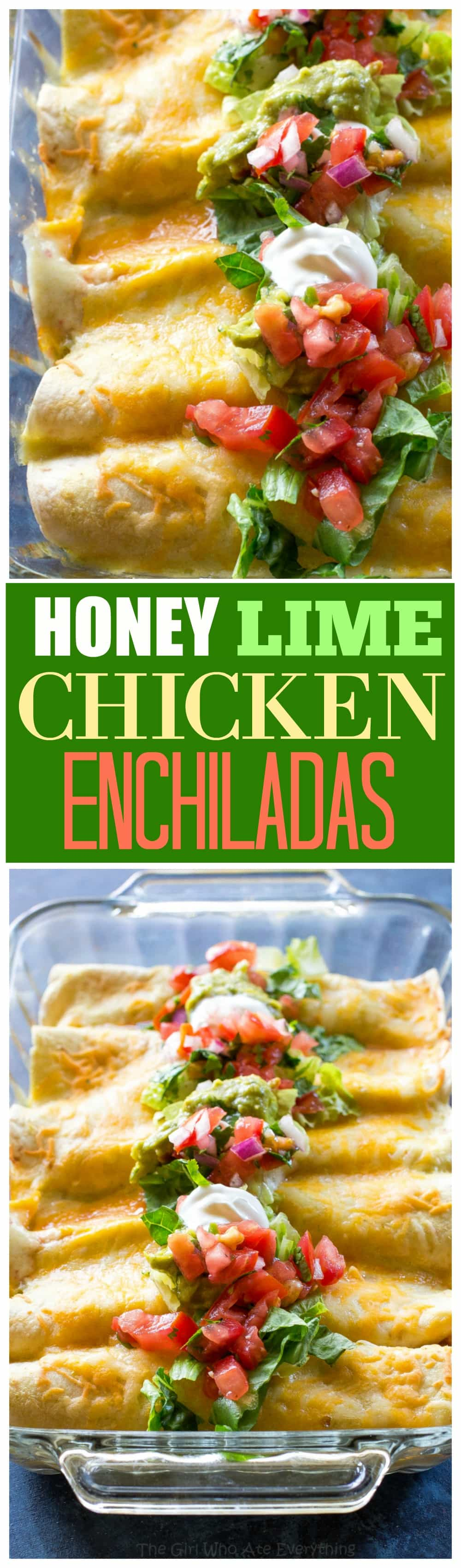 Honey Lime Chicken Enchiladas - my go-to easy Mexican dinner for company that is freezer friendly. #mexican #dinner #recipe #honey #lime #enchiladas #freezerfriendly