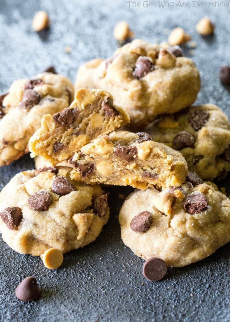 The Best Peanut Butter Cookies - studded with chocolate chips and peanut butter chips. the-girl-who-ate-everything.com