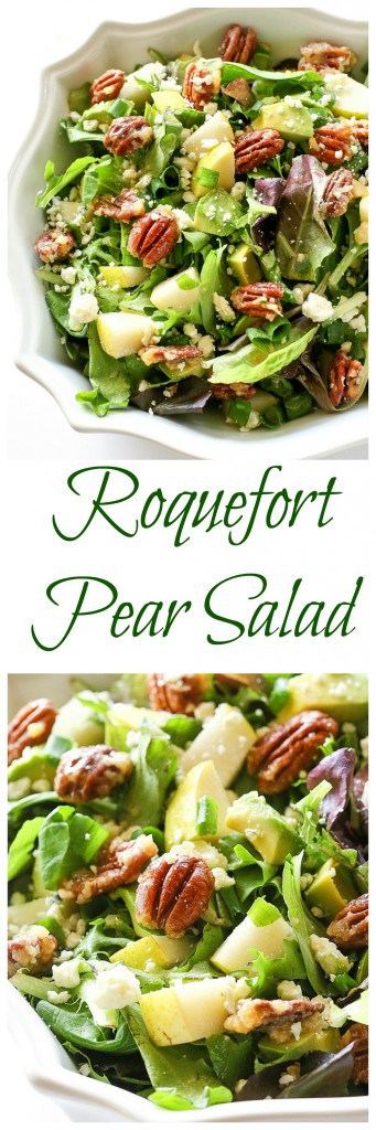 Roquefort Pear Salad - one of my favorite salads topped with candied pecans! #pear #salad #healthy #recipe