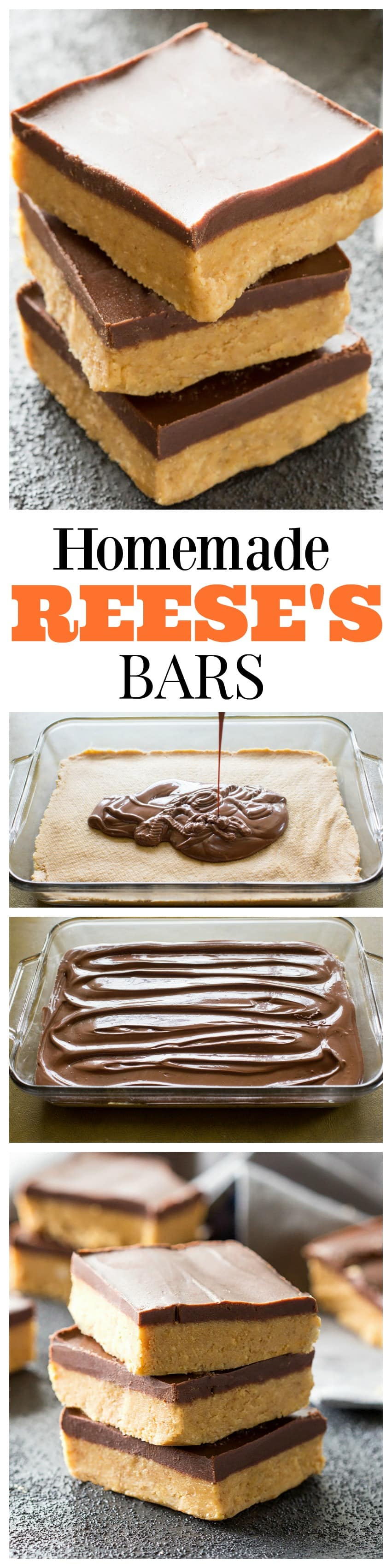 Homemade Reese's Bars - so easy you can make them at home! So good! #homemade #peanut #butter #bars #recipe #reeses #dessert