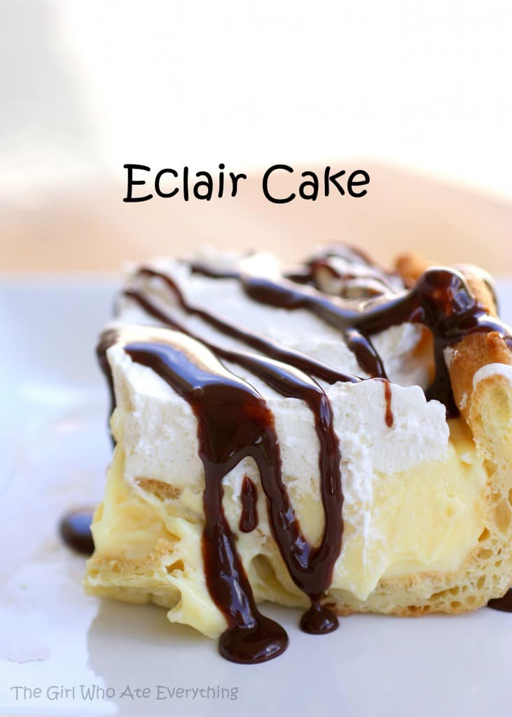 This Chocolate Eclair Cake has a cream puff crust, vanilla cream cheese layer, whipped cream, and a chocolate drizzle. It's all the flavors of an eclair in cake form. the-girl-who-ate-everything.com