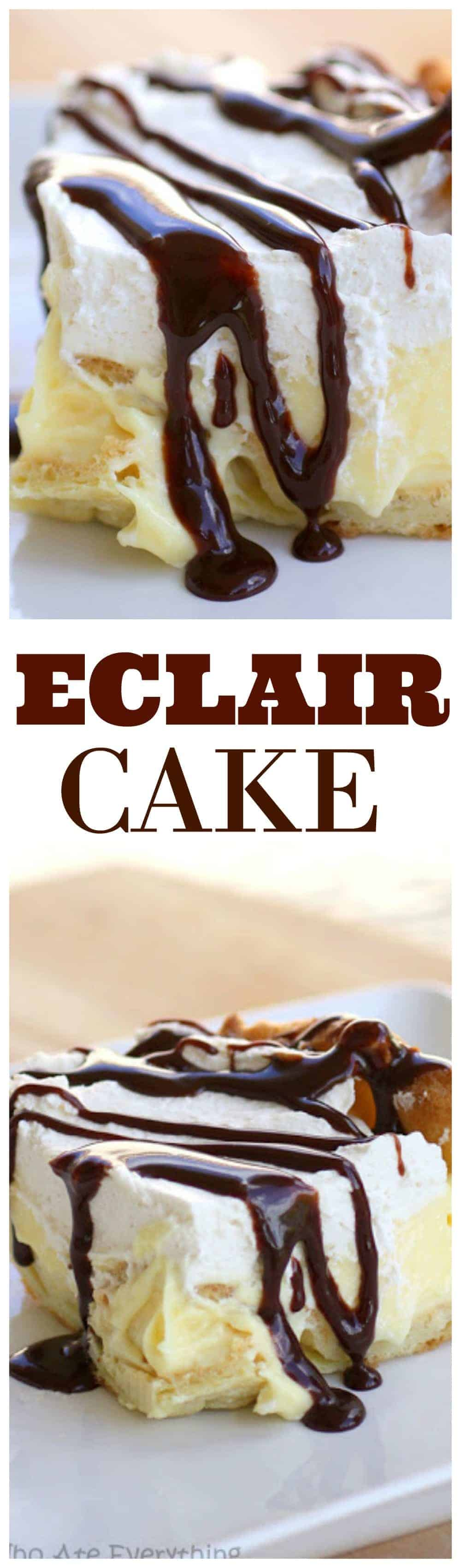 This Eclair Cake has a cream puff crust, vanilla cream cheese layer, whipped cream, and a chocolate drizzle. It's all the flavors of an eclair in cake form. #chocolate #eclair #cake #recipe #dessert