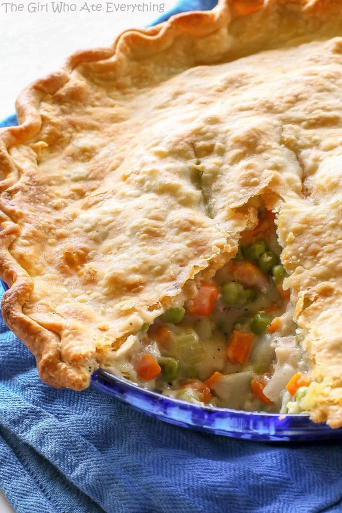 chicken pot pie with a slice cut out