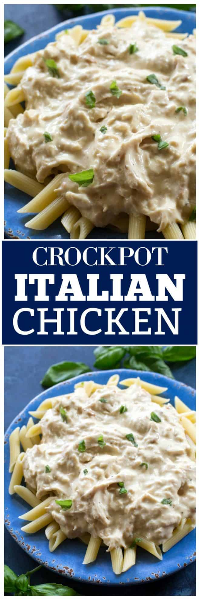 This Crockpot Italian Chicken is one of my family favorites. Everything is thrown in the slow cooker for an easy, creamy, tasty dinner.  It's tender and topped with a creamy Italian flavored dressing. Serve over pasta or rice! #crockpot #italian #chicken #recipe #dinner #slowcooker