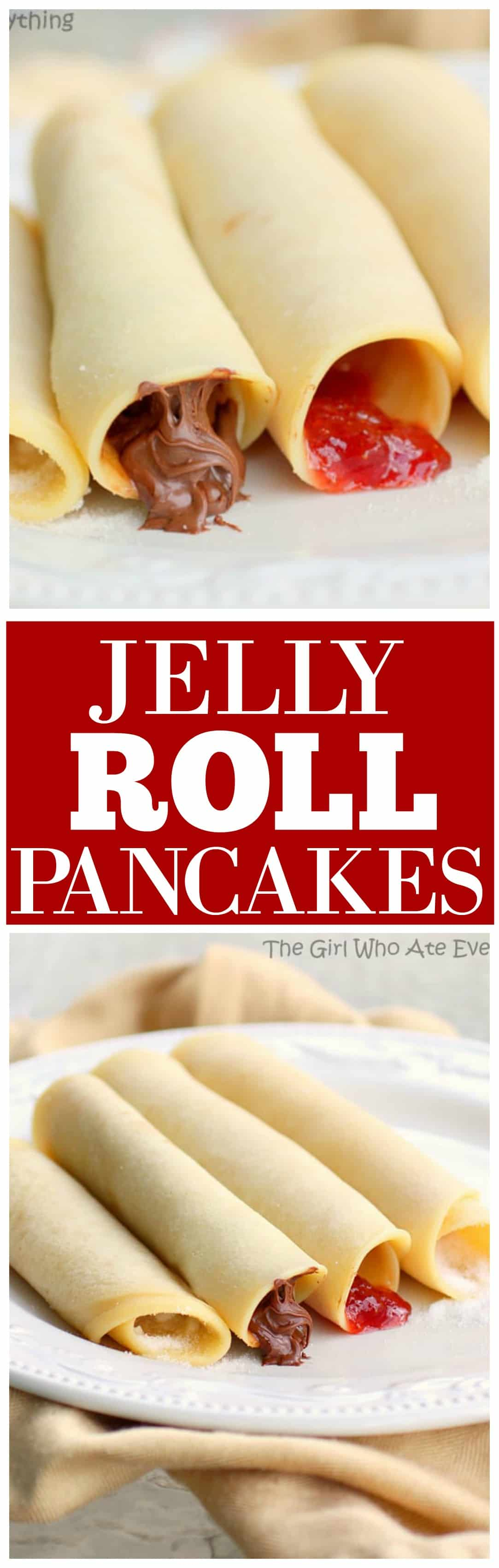 Jelly Roll Pancakes on a plate