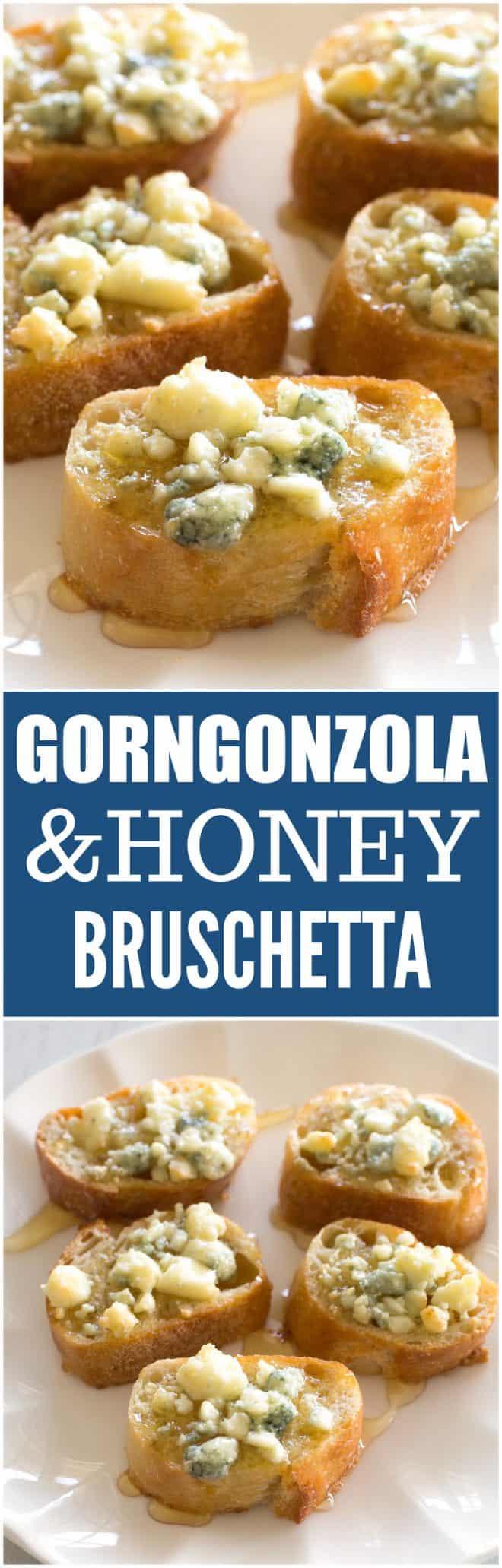 gorgonzola and honey on bread