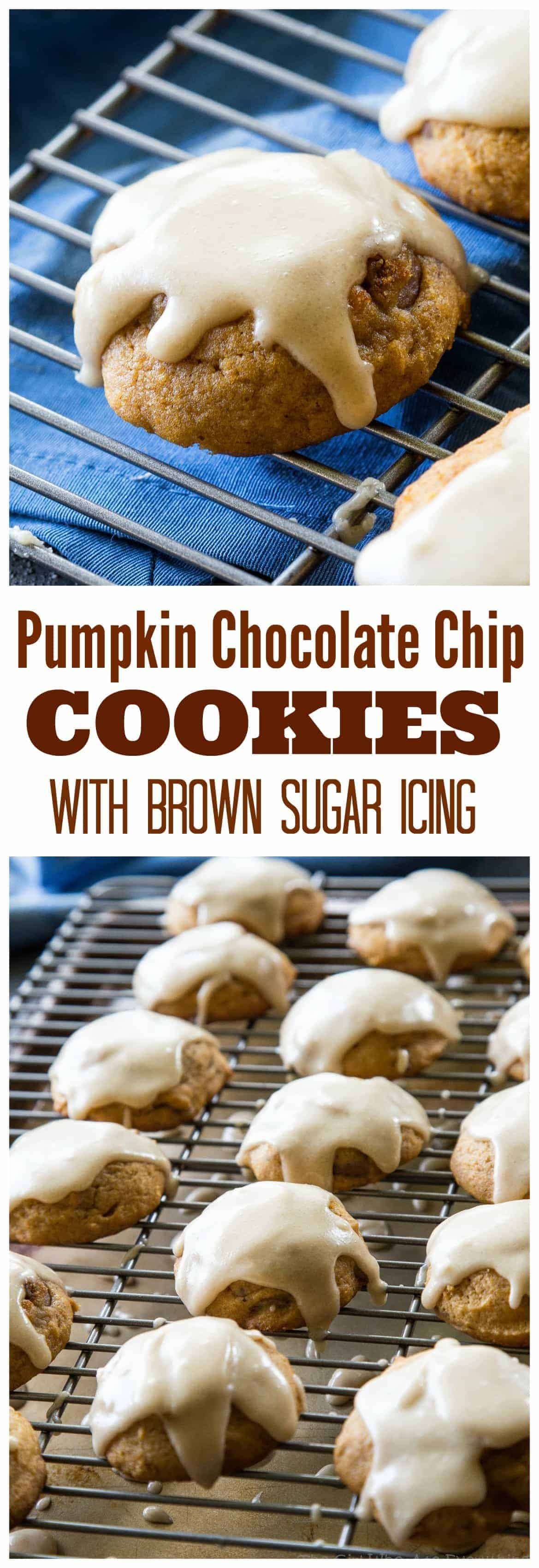 Pumpkin Chocolate Chip Cookies with Brown Sugar Icing - these soft pumpkin cookies will be a fall favorite every year. #pumpkin #brownsugar #chocolatechip #cookies