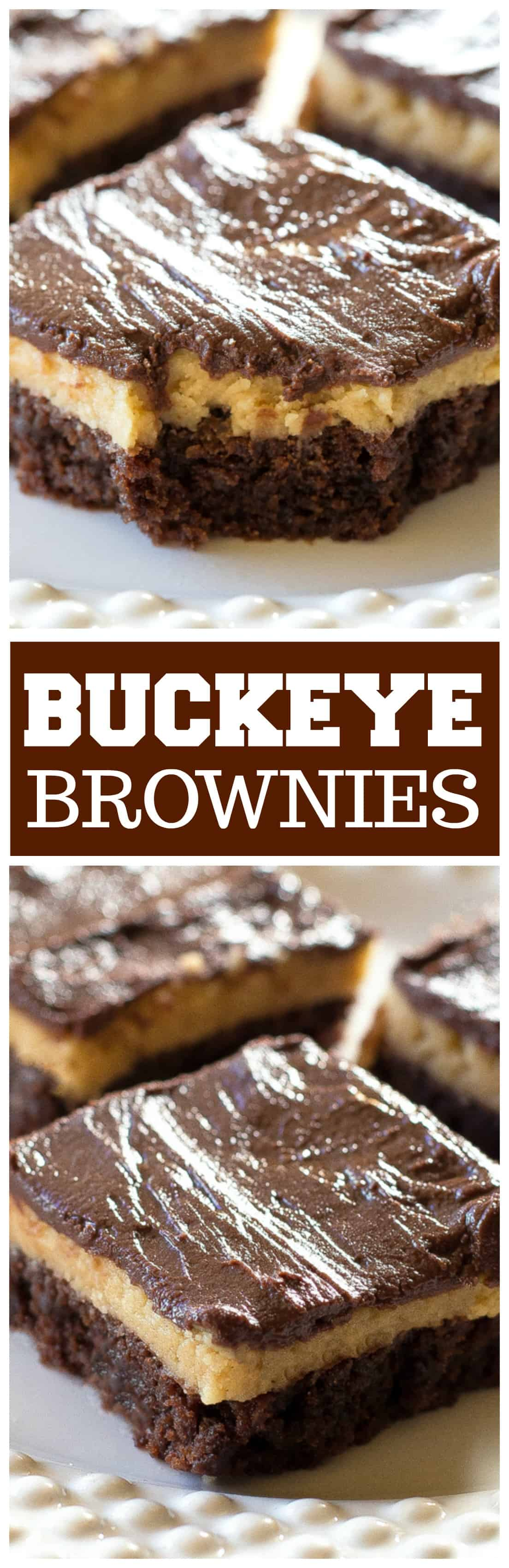 Buckeye Brownies with a rich brownie layer, a creamy peanut butter layer, and topped with another chocolate layer. The ultimate indulgence! #chocolate #brownie #dessert #peanutbutter