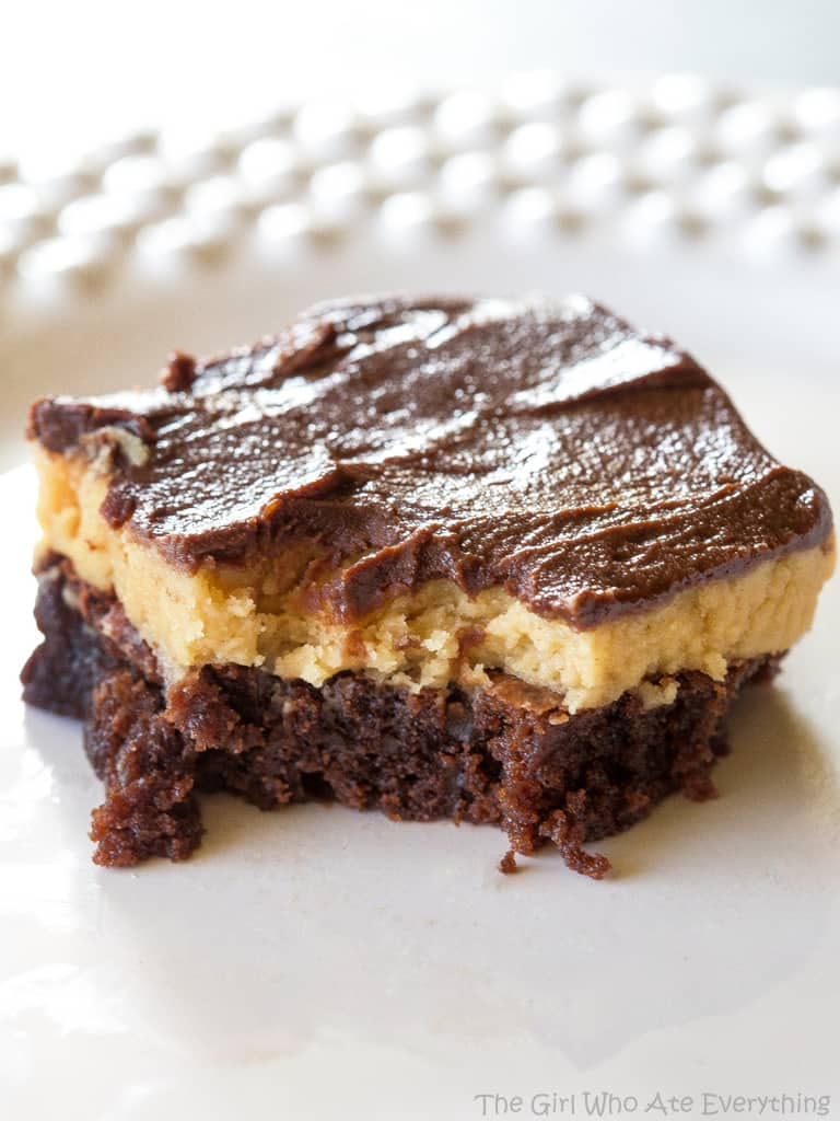Peanut Butter Truffle Brownies with a bite out of it