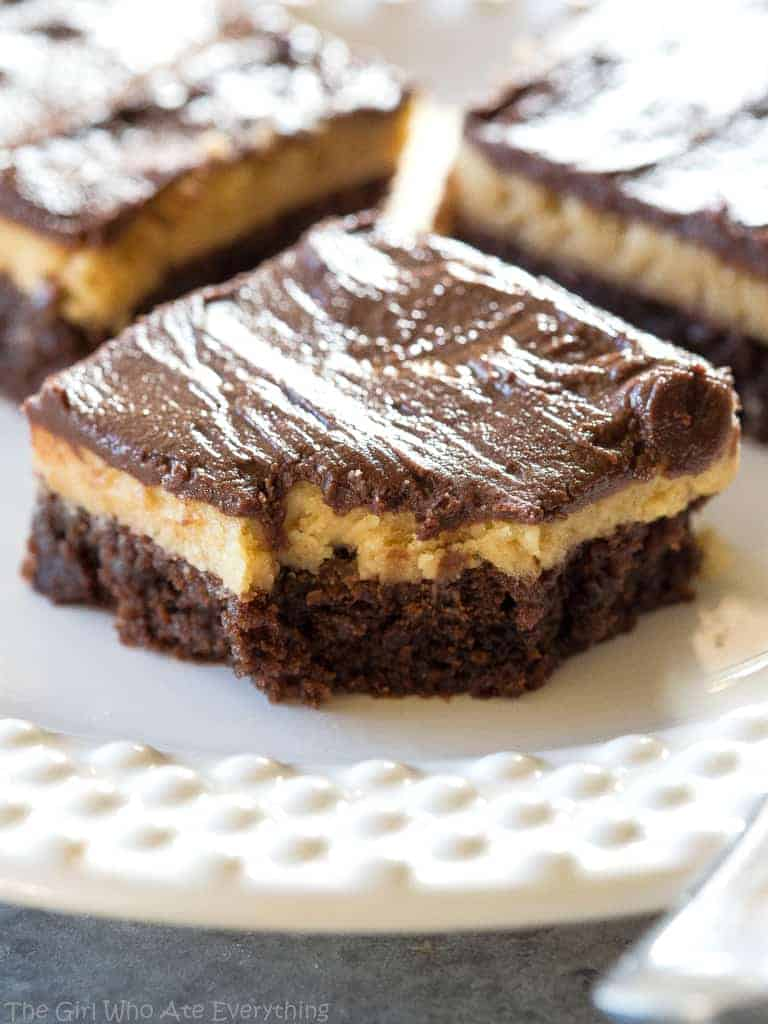 Buckeye brownies on a plate