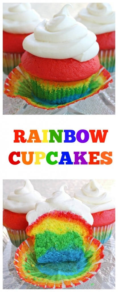 Easy Rainbow Cupcakes with a magical rainbow inside. #rainbow #cupcakes #dessert #recipe #stpatricksday
