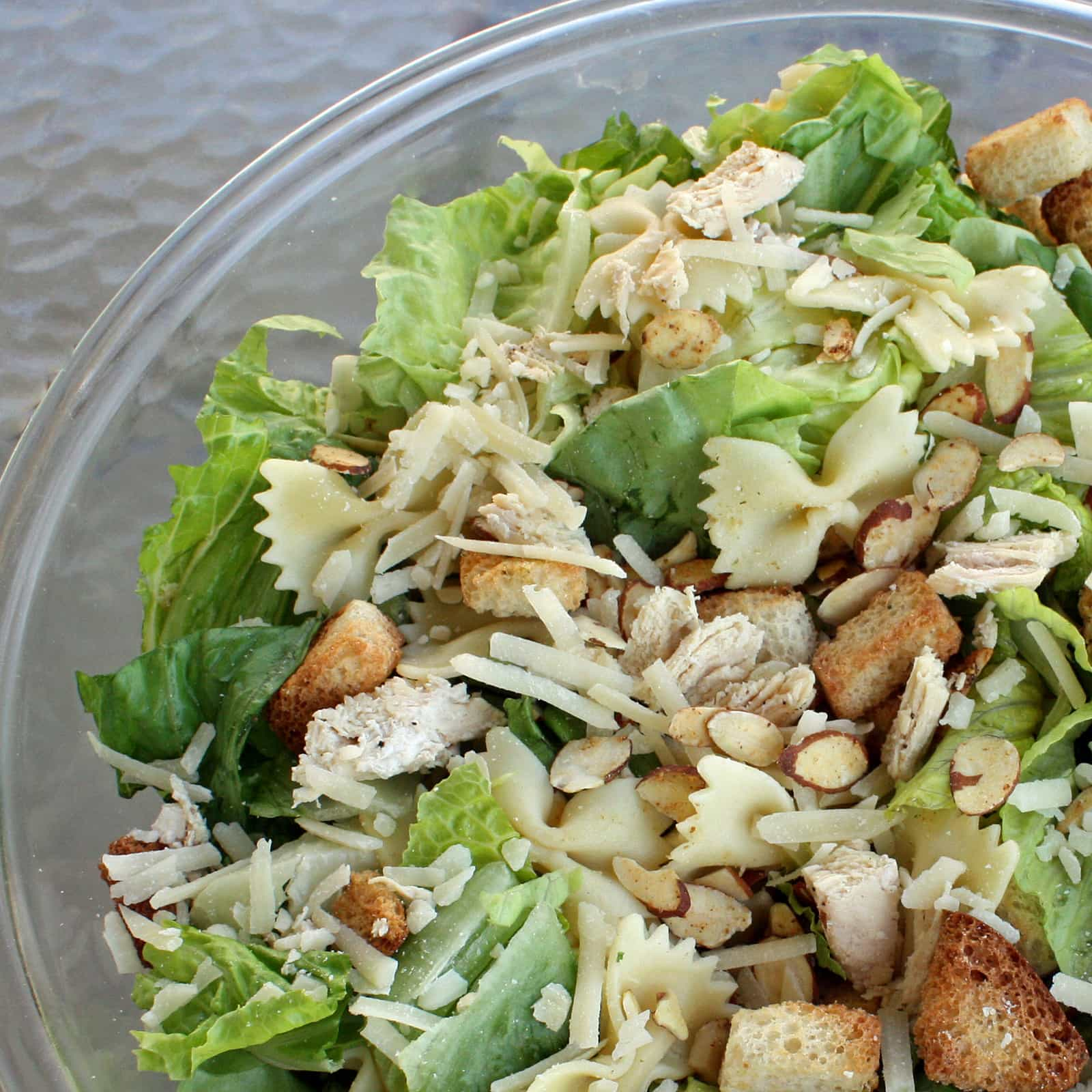 Bowtie Chicken Caesar Salad - The Girl Who Ate Everything