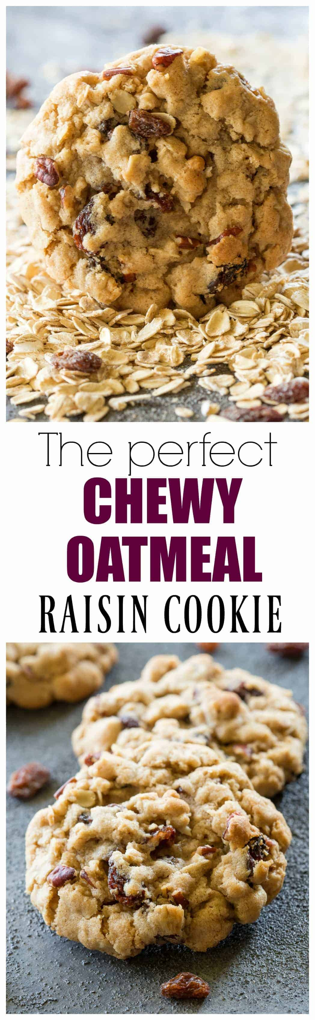 The Best Chewy Oatmeal Raisin Cookies - perfect texture, full of oats, raisins, and nuts. #chewy #oatmeal #raisin #cookie #recipe #dessert #thick