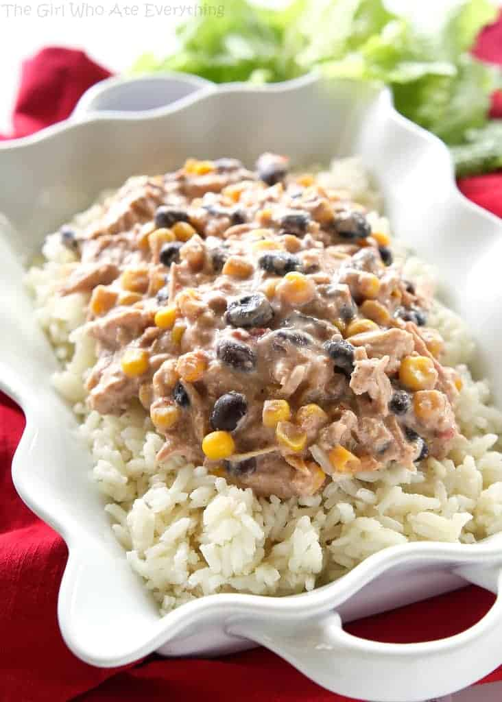 Slow Cooker Fiesta Chicken - an easy meal with chicken, cream cheese ...