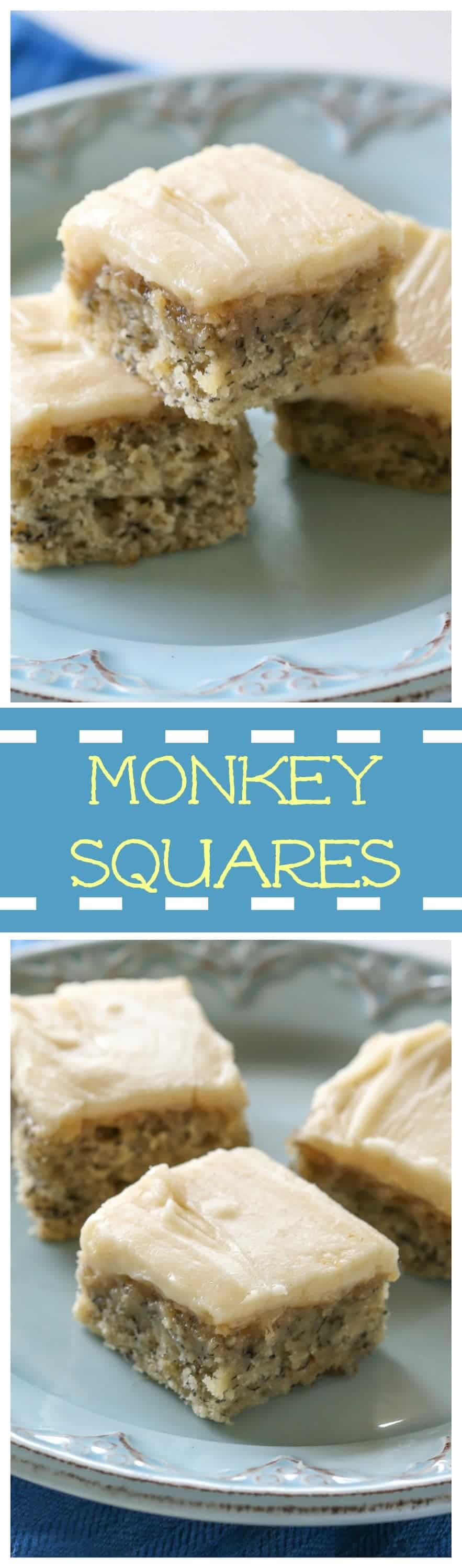 These Monkey Squares are soft and moist banana bread bars with browned butter icing. Think of the best banana bread made into easy to eat bars. This recipe is great for breakfast, brunch, desserts, and potlucks! #Banana #bread #bars #potlucks #dessert #breakfast