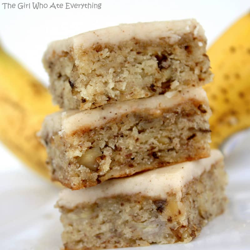 Monkey Squares - banana bread bars with browned butter frosting.