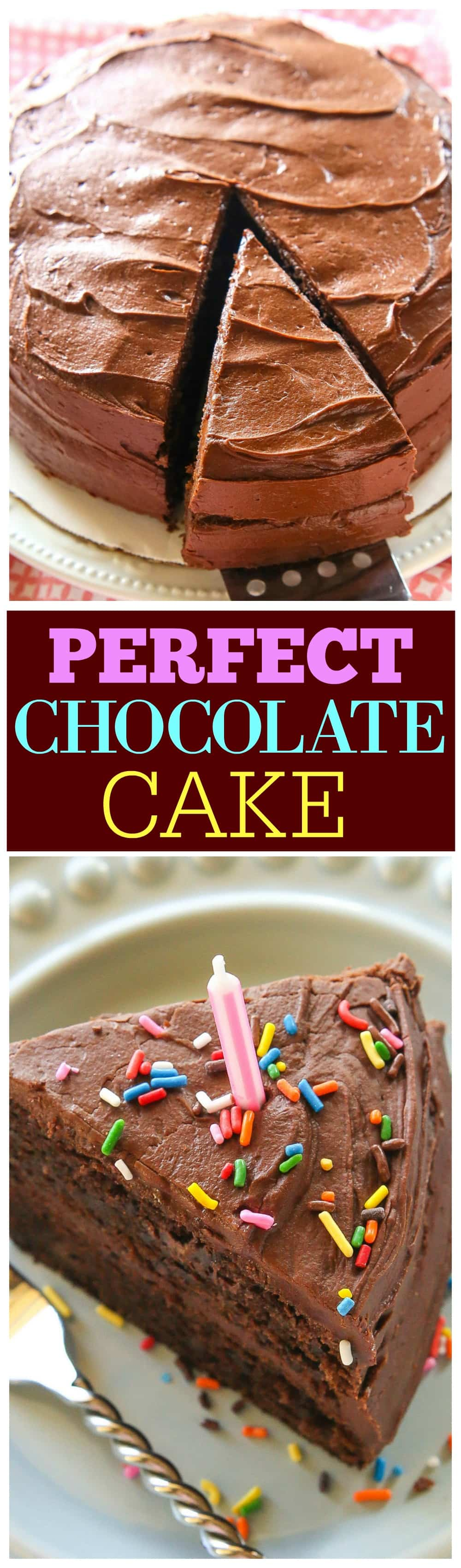 Perfect Chocolate Cake - moist with the silkiest frosting ever! #hersheys #perfectly #chocolate #cake #recipe #easy #frosting