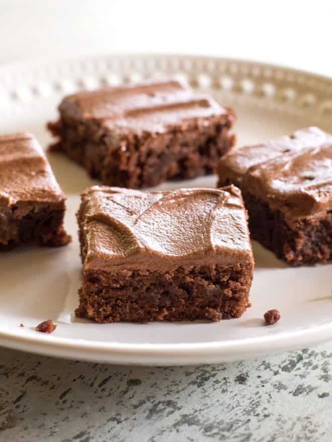 Homemade brownies on a white plate