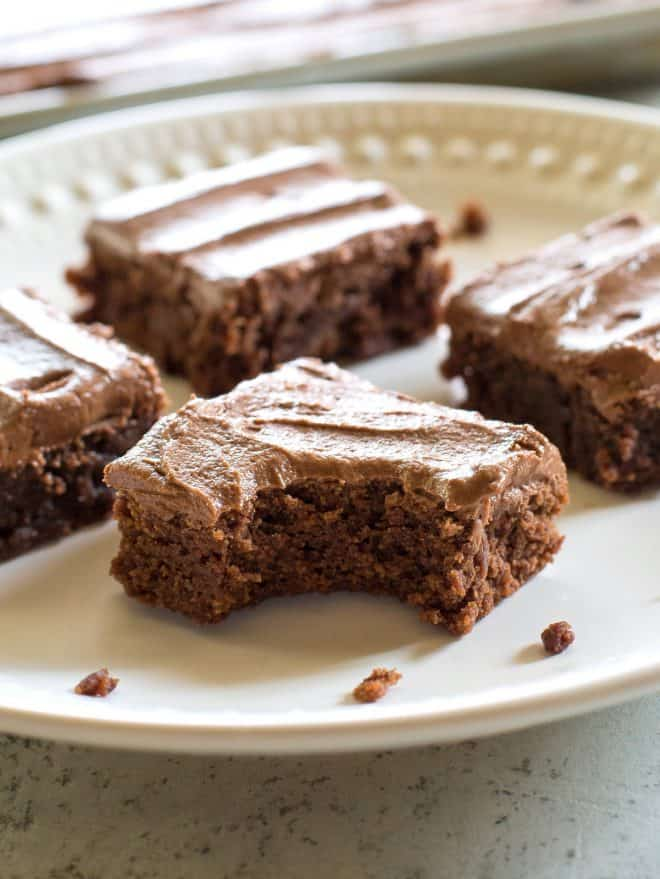 Homemade brownies with a bite