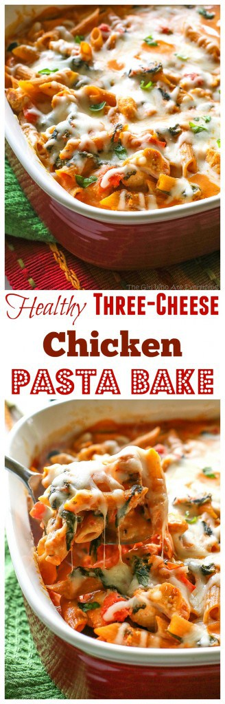 Healthy Three Cheese Penne - only 460 calories per serving which is 1/4 of this dish! #healthy #cheese #pasta #dinner #recipe #bake