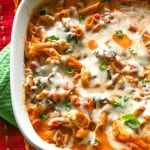 Healthy Three-Cheese Chicken Penne Pasta Bake
