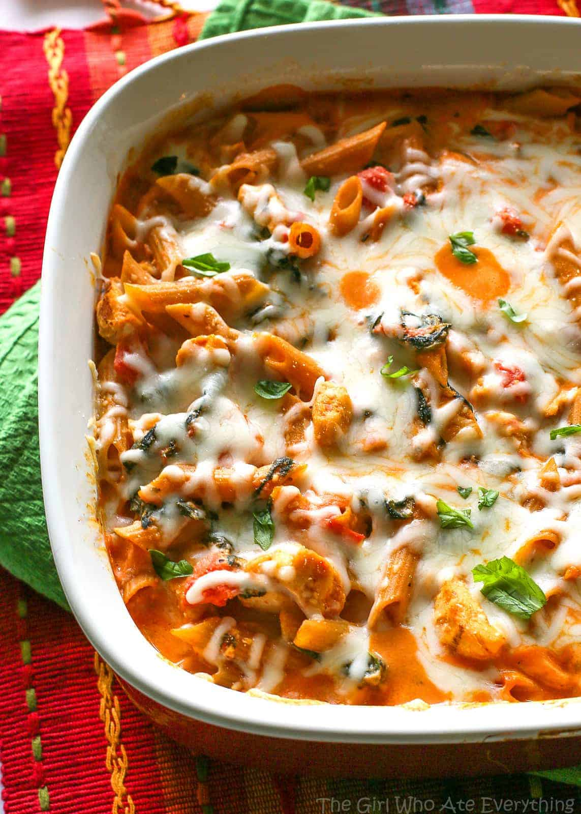 Healthy Three-Cheese Chicken Penne Pasta Bake - The Girl ...