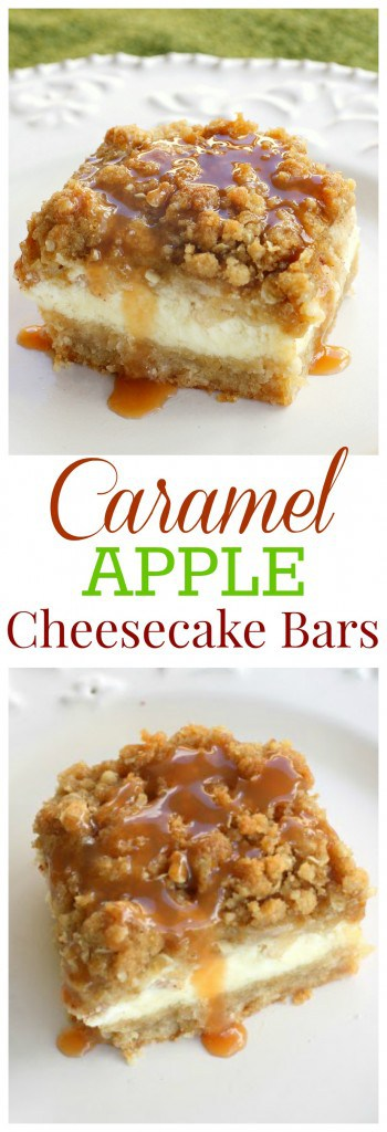 Caramel Apple Cheesecake Bars - These bars start with a shortbread crust, a thick cheesecake layer, and are topped with diced cinnamon apples and a sweet streusel topping. #caramel #apple #cheesecake #bars #dessert #recipe