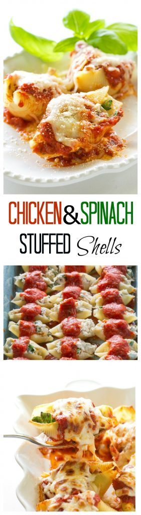 Chicken and Spinach Stuffed Shells - great flavor and makes a ton! I always make this for company. #chicken #spinach #shells #casserole #pasta #italian #recipe