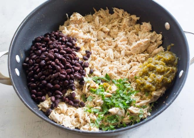 chicken, black beans, cilantro