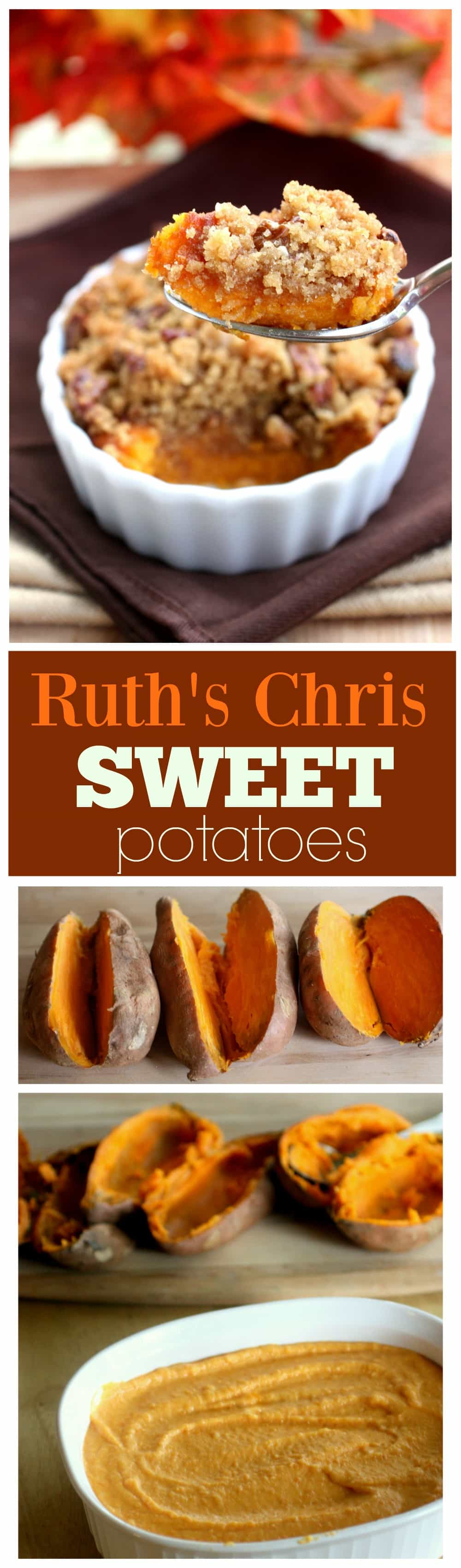 These Sweet Potatoes are creamy and topped with a brown sugar pecan crust just like they are at Ruth's Chris Steakhouse. One of our family favorites, this will turn even non-sweet potato lovers into avid fans. #sweet #potato #casserole #ruthschris #thanksgiving #side