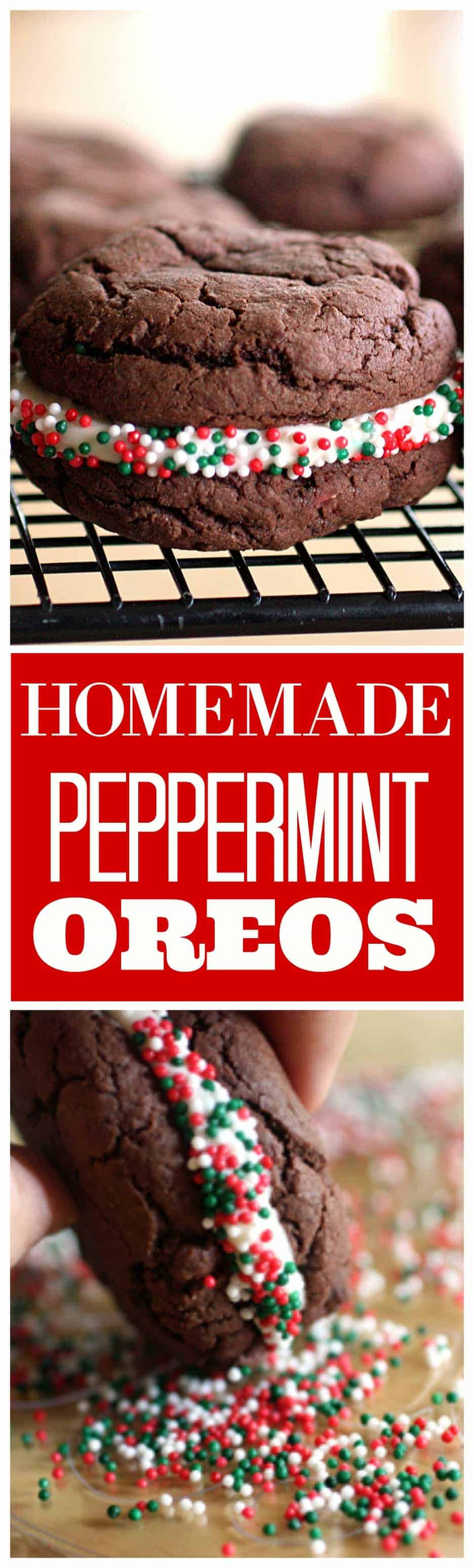Homemade Peppermint Oreos - soft chocolate cookies with a peppermint cream cheese frosting. Great for Christmas cookie plates. #christmas #homemade #peppermint #oreos #cookies #recipe