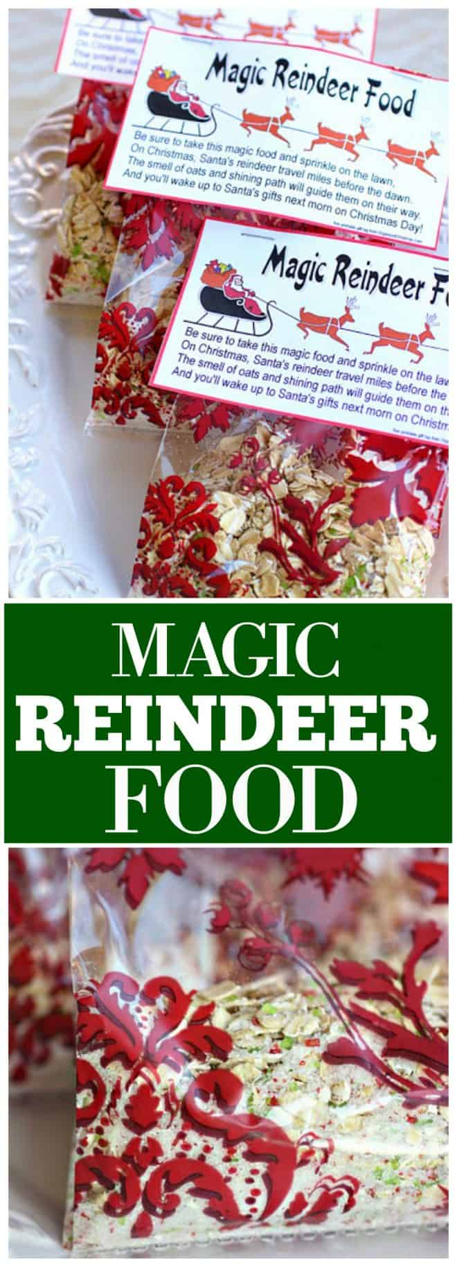 Magic Reindeer Food - made from oats, sprinkles, and glitter this magical reindeer food can be sprinkled on the lawn for the reindeer to eat. #magical #reindeer #food #magic #christmas #craft