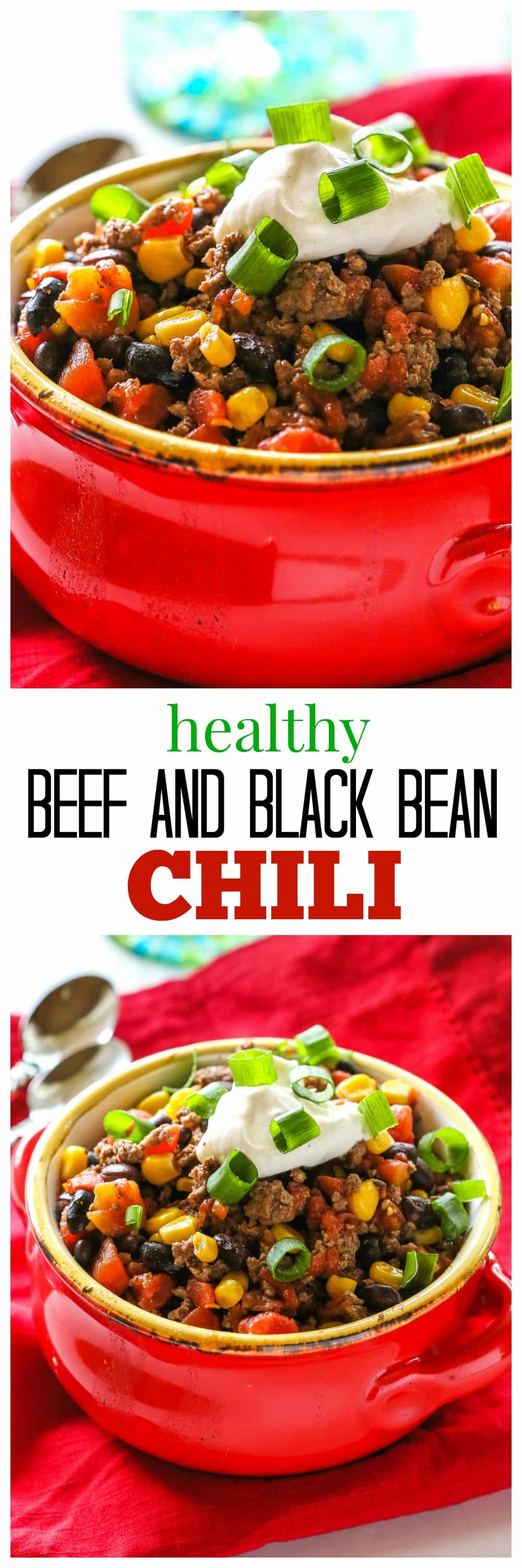 Healthy Spicy Beef and Black Bean Chili - 298 calories per serving! #healthy #black #bean #beef #chili #recipe