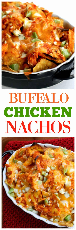 Buffalo Chicken Nachos - Yassss! An easy appetizer that's game time food. #buffalo #chicken #nachos #appetizer #recipe