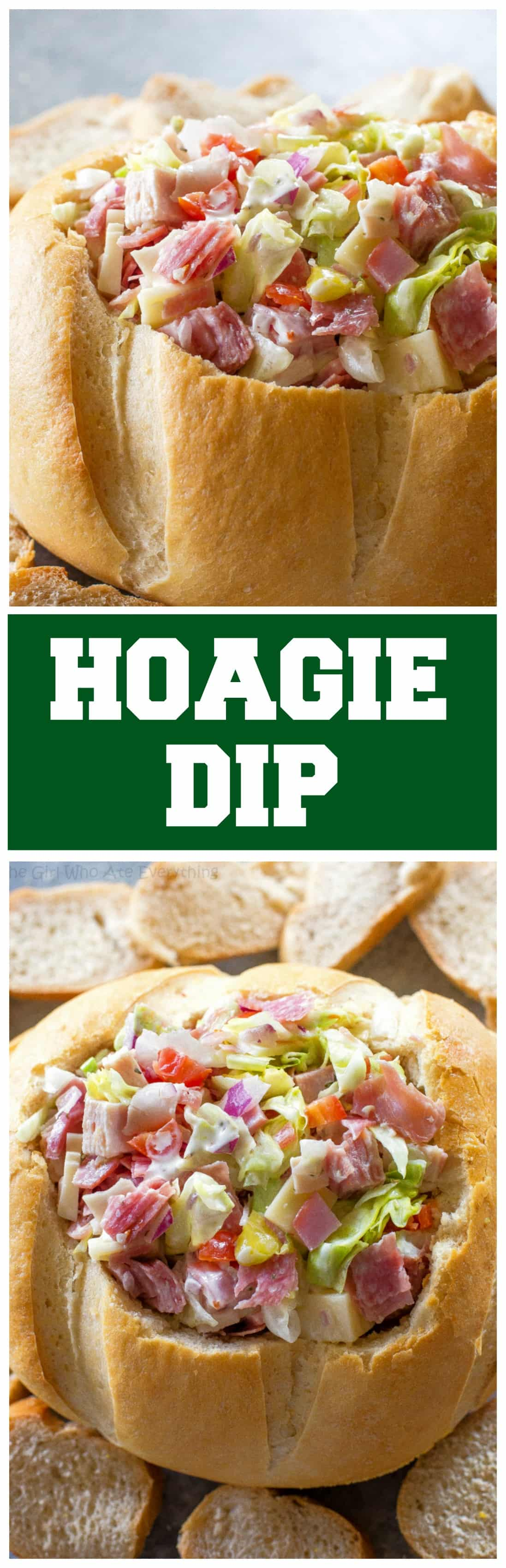 This Hoagie Dip recipe tastes just like a sub sandwich from Subway but in dip form. This appetizer should really be called Hoagie Spread because the best way to eat it is to spoon it on top of slices of bread. #appetizer #hoagie #bread #dip #subway #sandwich