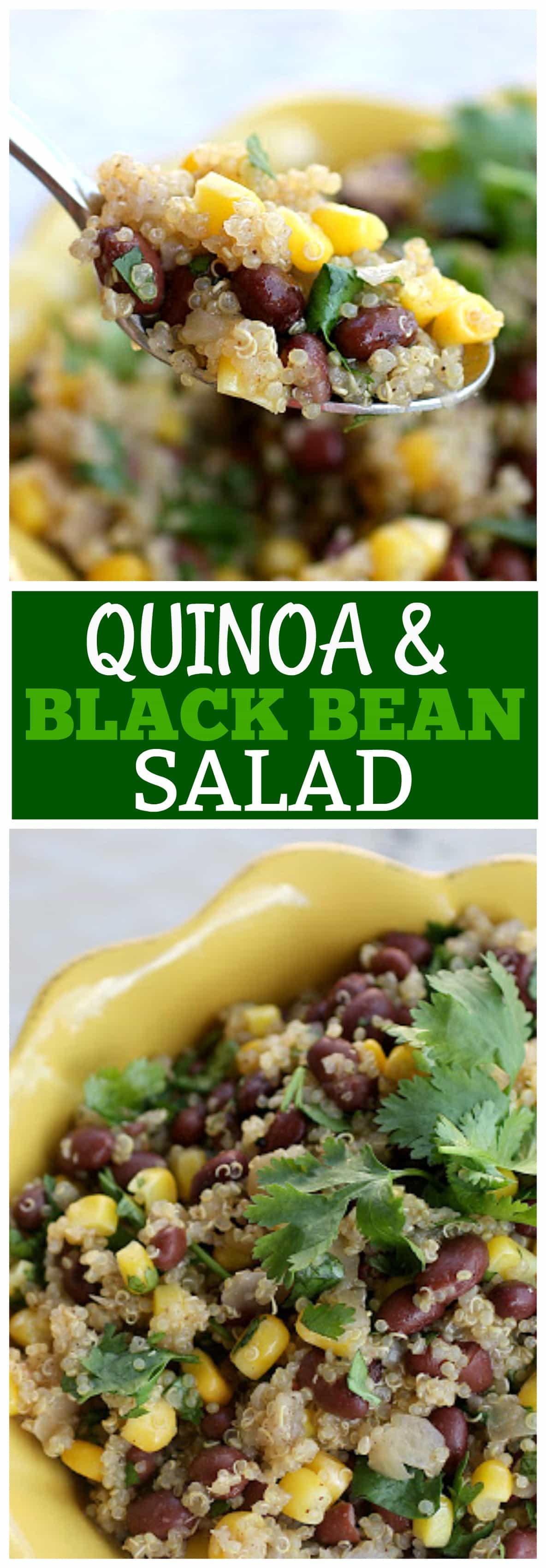 This Quinoa and Black Bean Salad is a vegan Mexican side dish packed with corn and black beans.