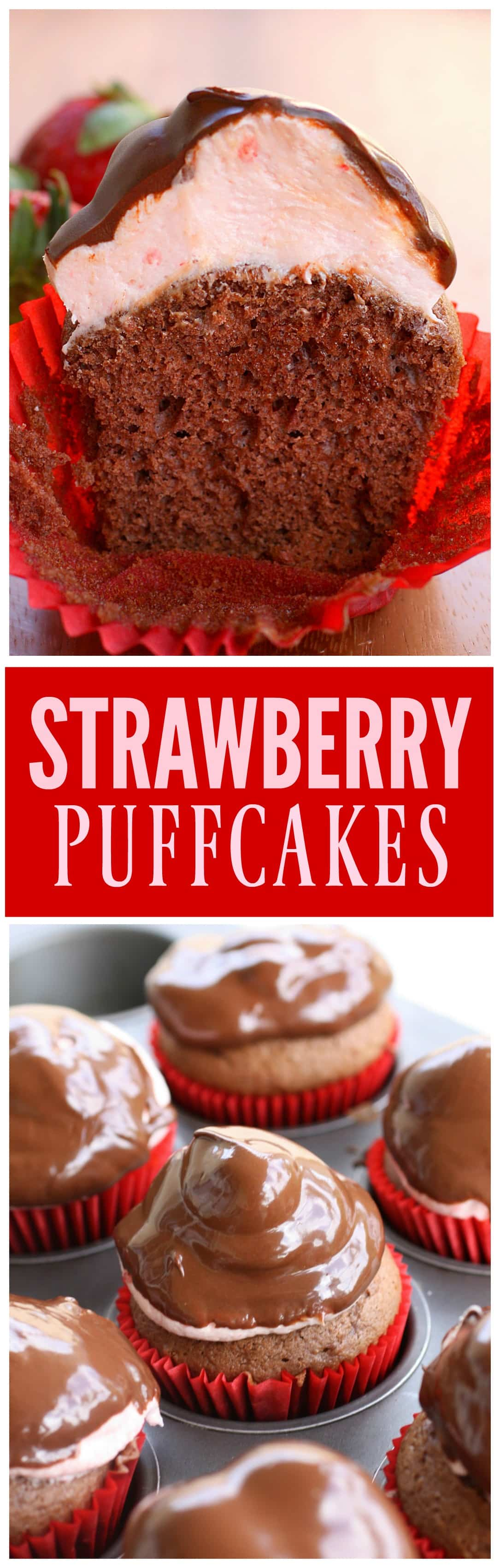 Strawberry Puffcakes - chocolate cupcakes topped with strawberry cream and dipped in chocolate. the-girl-who-ate-everything.com