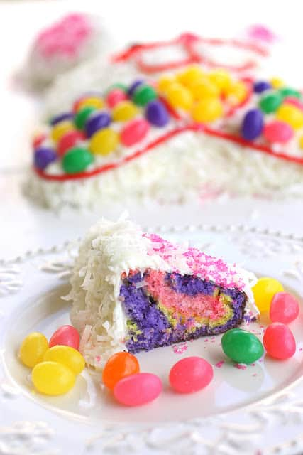 Easter Bunny Cake Slice on a plate with jellybeans