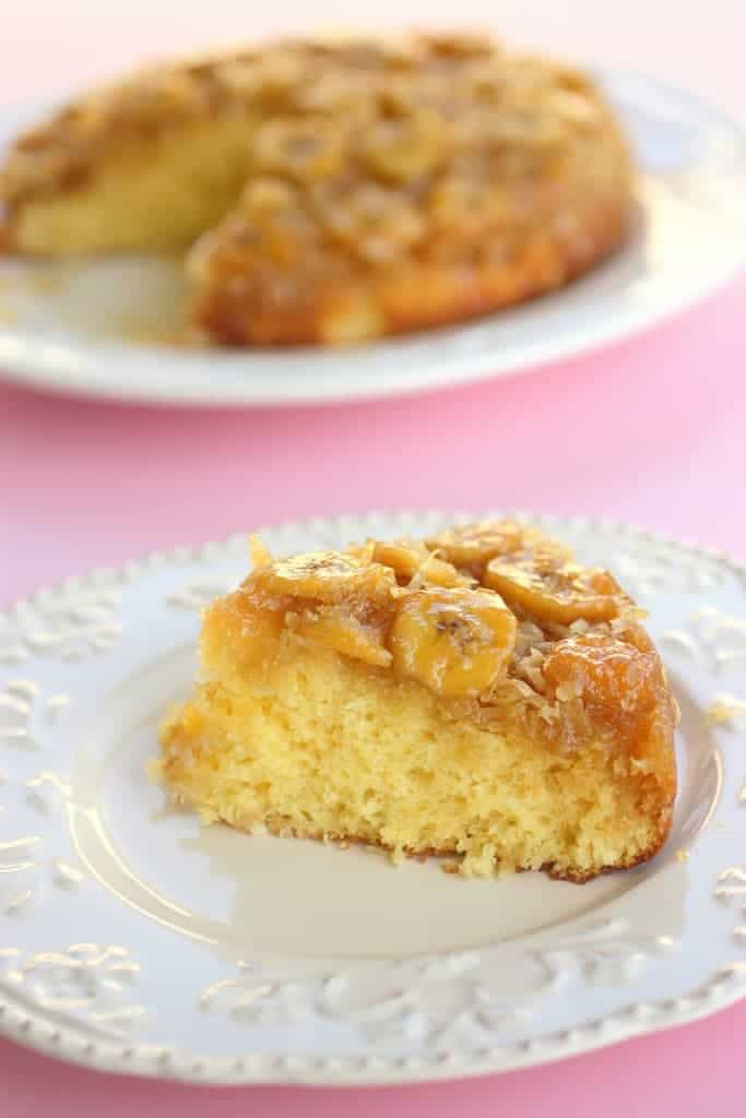 Banana Coconut Upside Down Cake has a layer of bananas and coconut ...