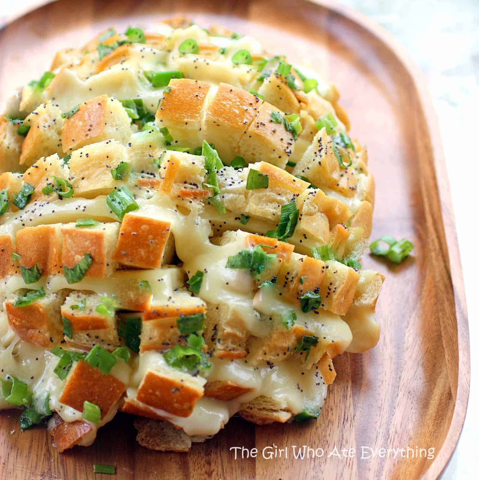 Onion Bread is sourdough bread stuffed with cheese, onions, and topped ...
