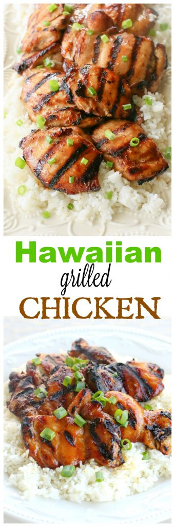 Hawaiian Grilled Chicken marinated in coconut milk, soy sauce, and green onions served over coconut rice. the-girl-who-ate-everything.com